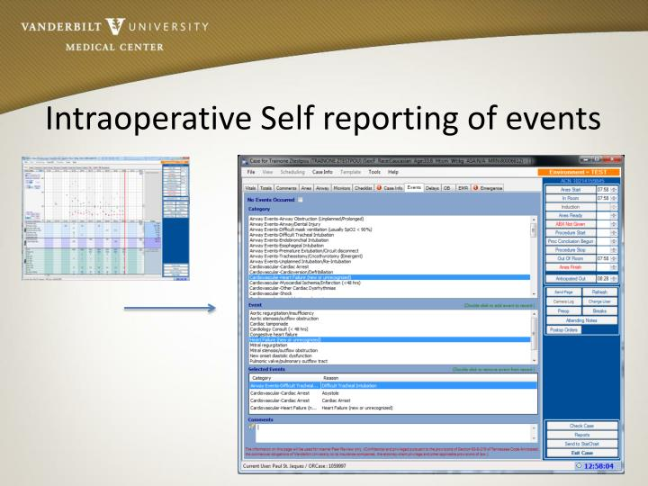 Intraoperative Self reporting of