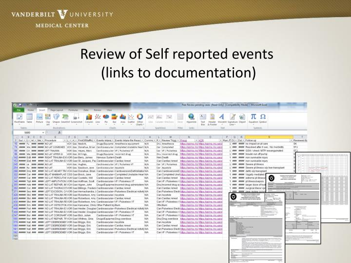 Review of Self reported events