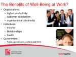 the benefits of well being at work