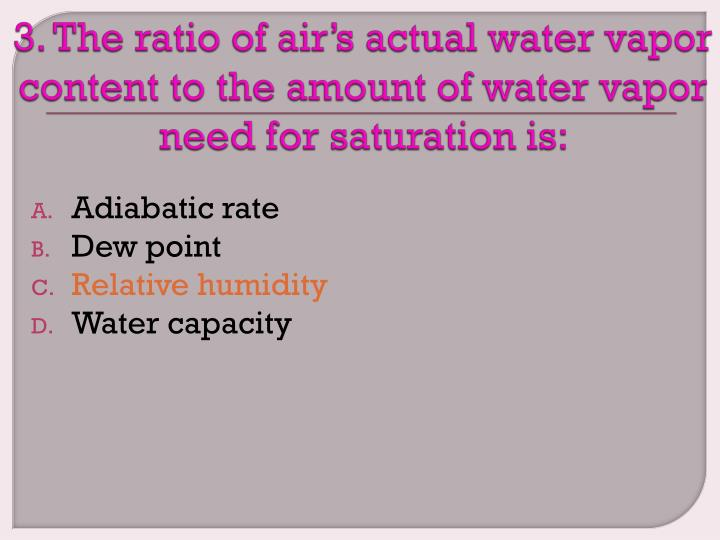 3. The ratio of air's actual water vapor content to the amount of water vapor need for saturation is: