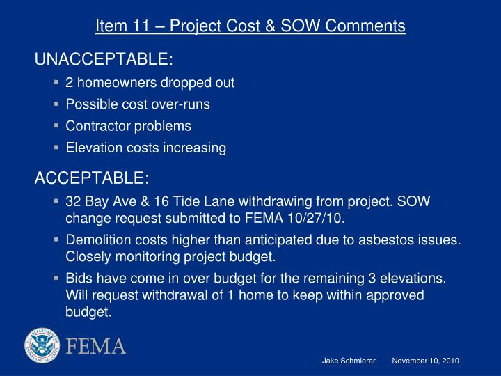 Item 11 – Project Cost & SOW Comments
