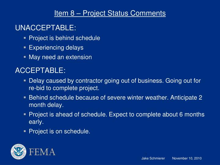 Item 8 – Project Status Comments