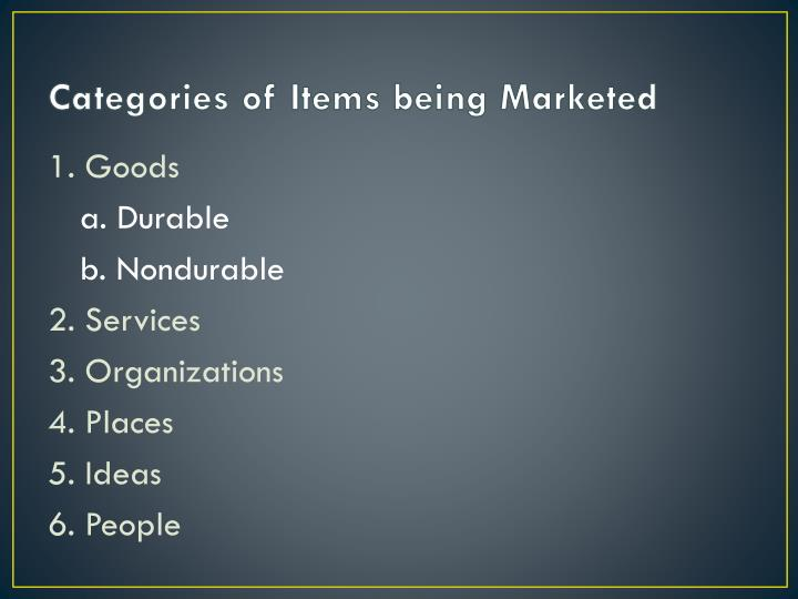 Categories of Items being Marketed
