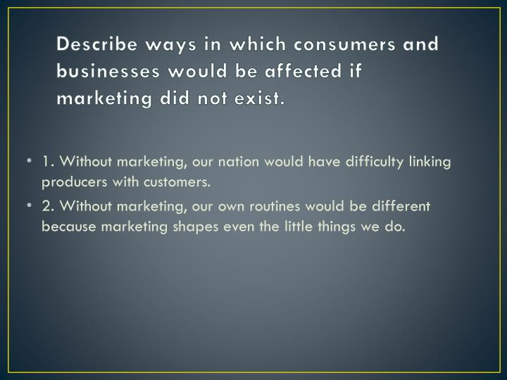Describe ways in which consumers and businesses would be affected if marketing did not exist.