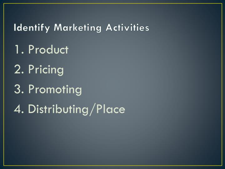 Identify marketing activities