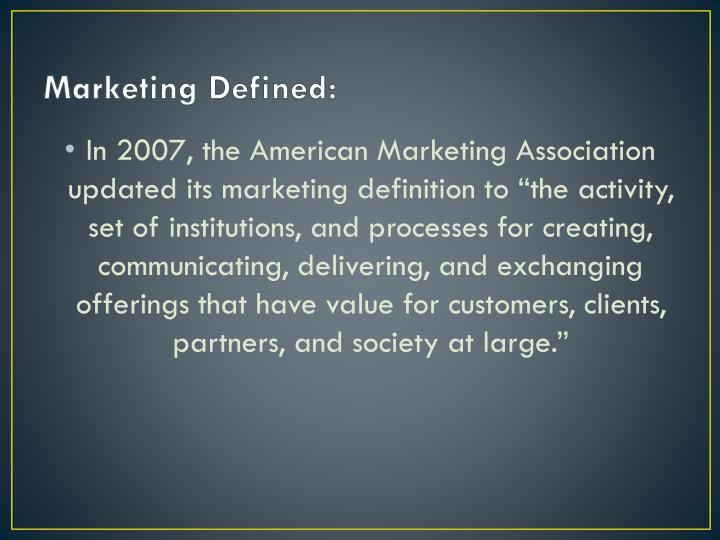 Marketing Defined: