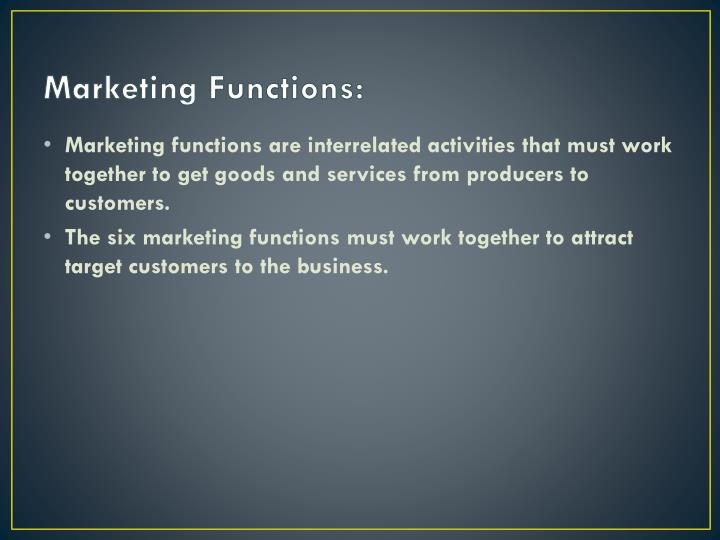Marketing Functions: