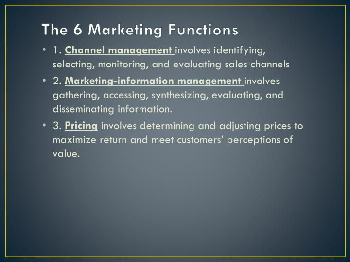 The 6 Marketing Functions