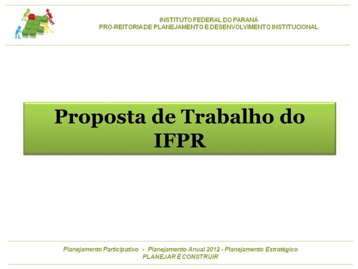 Proposta de Trabalho do IFPR