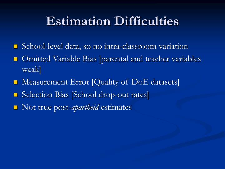 Estimation Difficulties