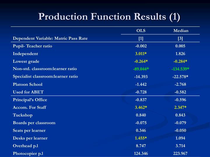 Production Function Results (1)