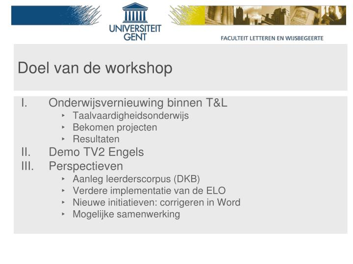 Doel van de workshop