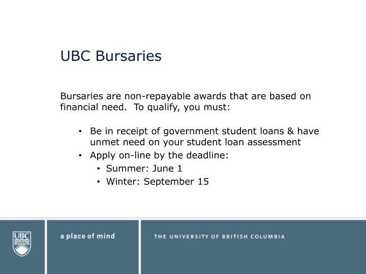 UBC Bursaries