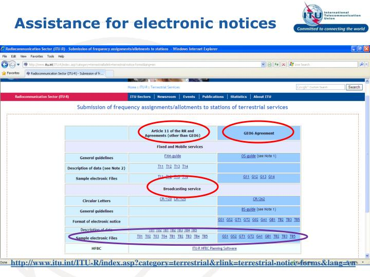 Assistance for electronic notices