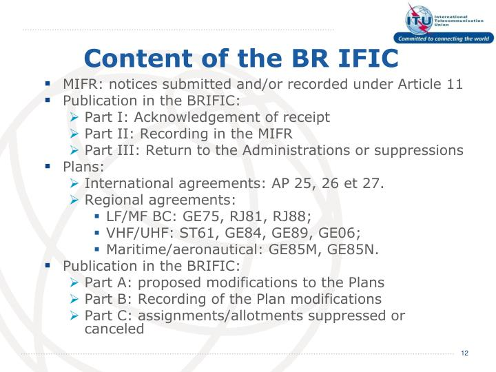 Content of the BR IFIC