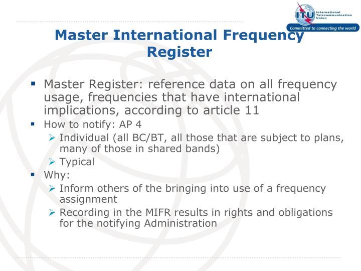Master International Frequency Register
