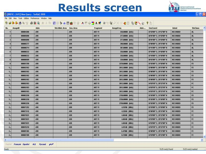 Results screen