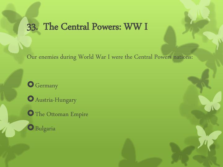 33.  The Central Powers: WW I