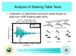 analysis of shaking table tests
