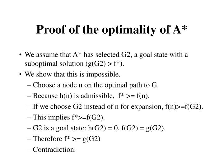 Proof of the optimality of A*