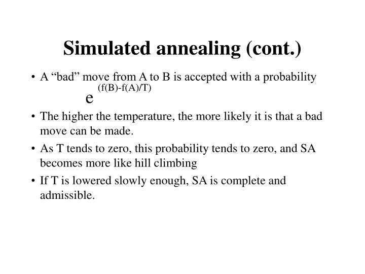 Simulated annealing (cont.)