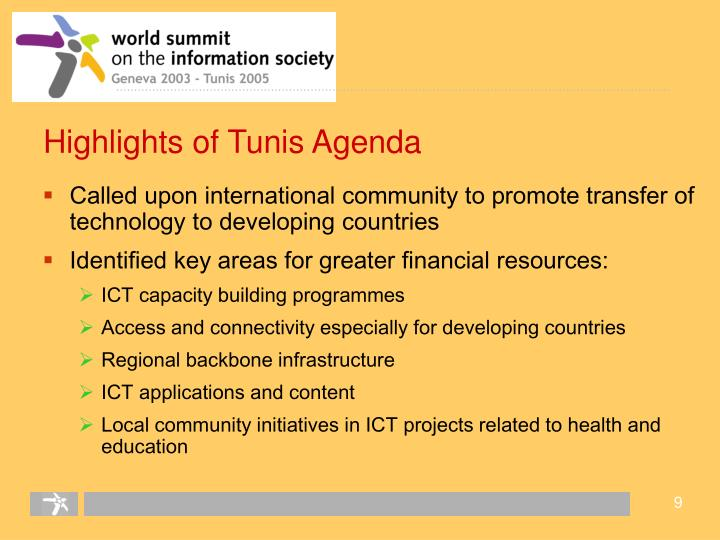 Highlights of Tunis Agenda