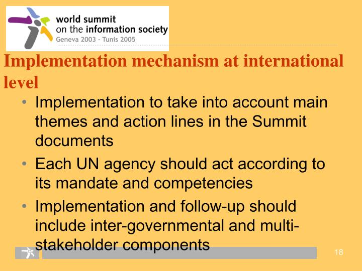 Implementation mechanism at international level
