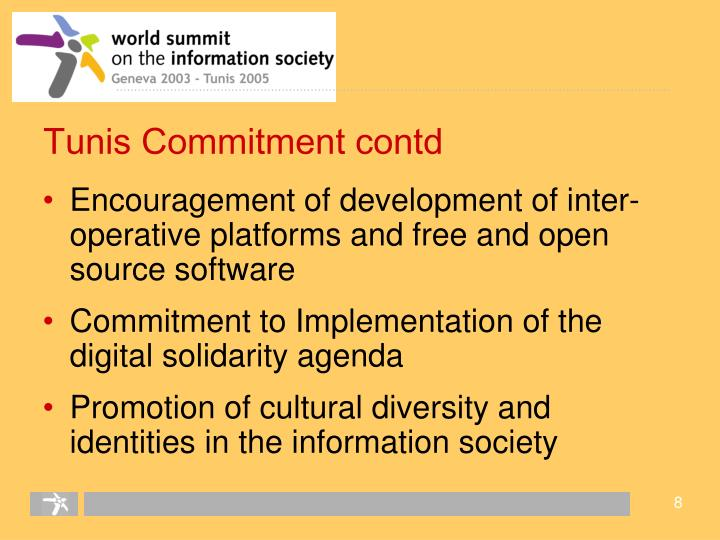 Tunis Commitment contd
