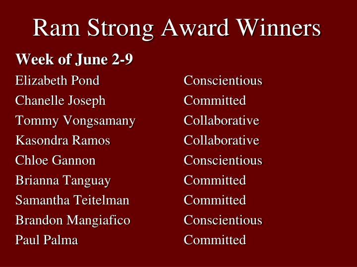 Ram Strong Award Winners