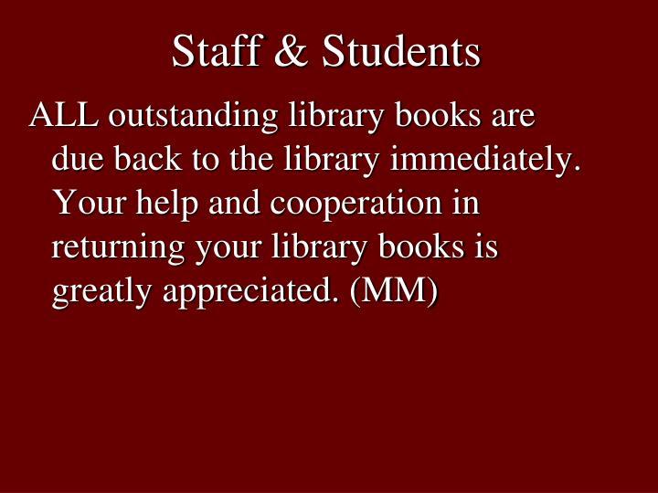 Staff & Students