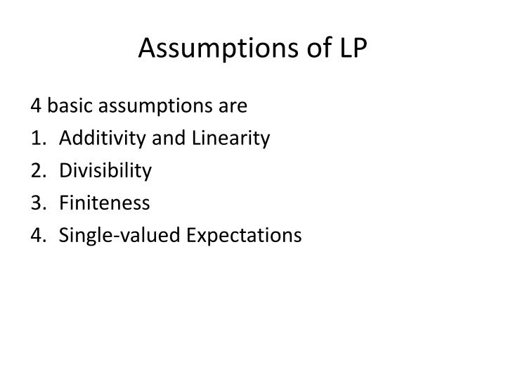Assumptions of LP