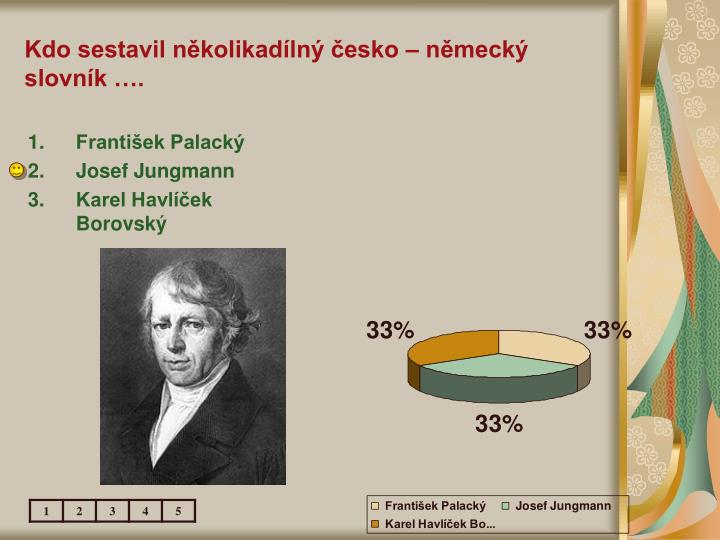 Kdo sestavil několikadílný česko – německý slovník ….