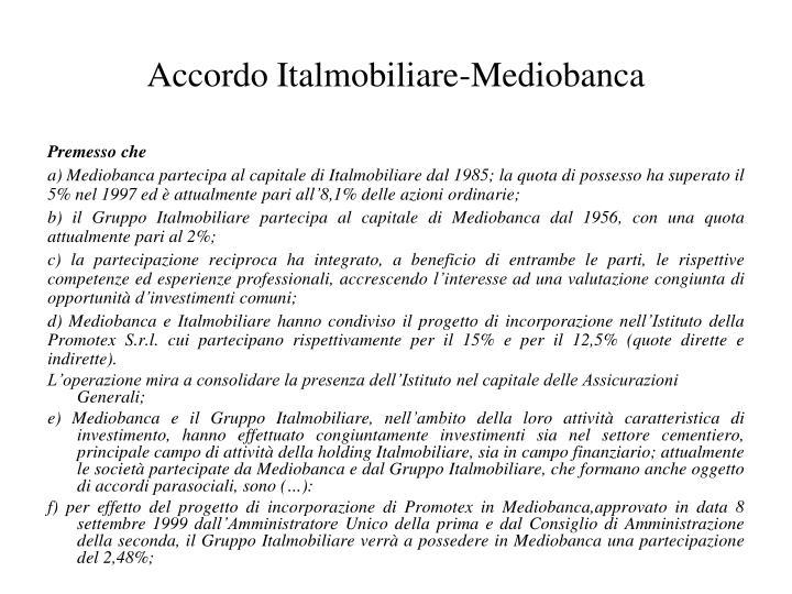 Accordo Italmobiliare-Mediobanca