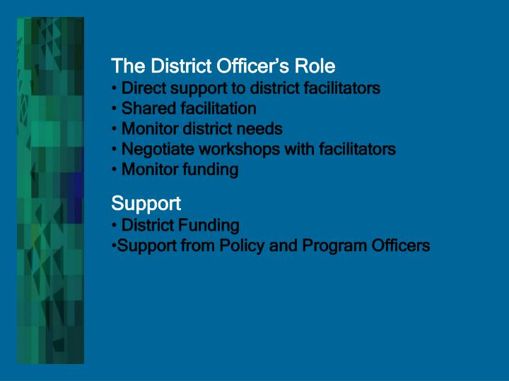 The District Officer's Role