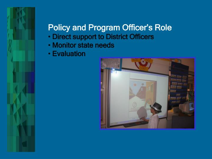 Policy and Program Officer's Role