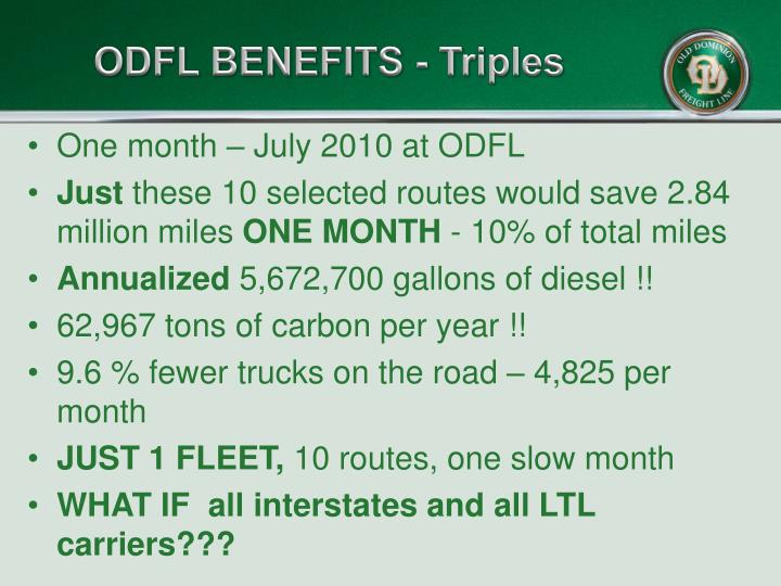 ODFL BENEFITS - Triples
