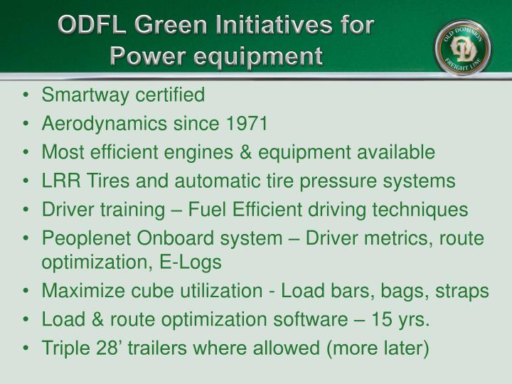 Odfl green initiatives for power equipment