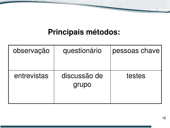 Principais métodos:
