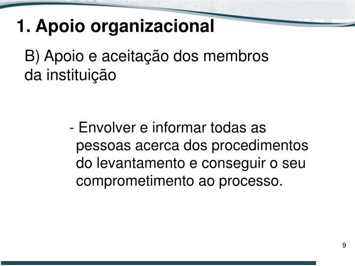 1. Apoio organizacional