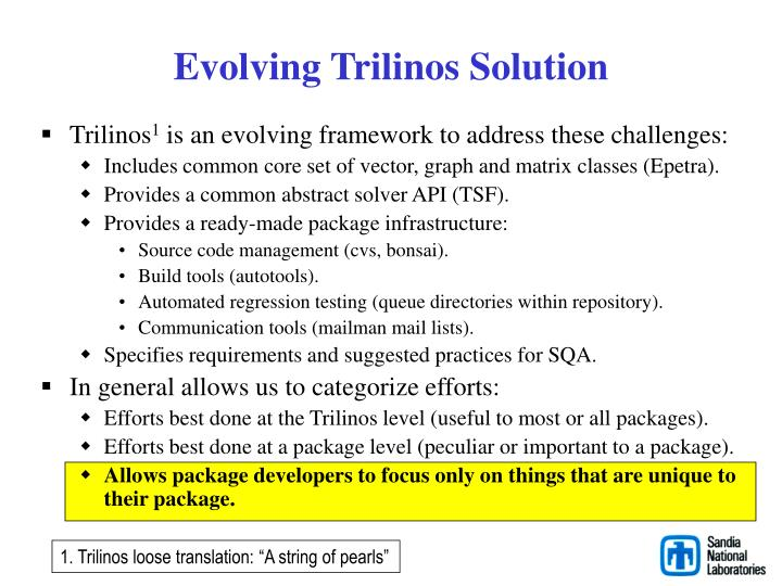 Evolving Trilinos Solution