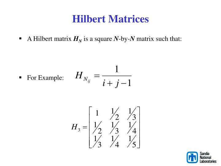 Hilbert Matrices