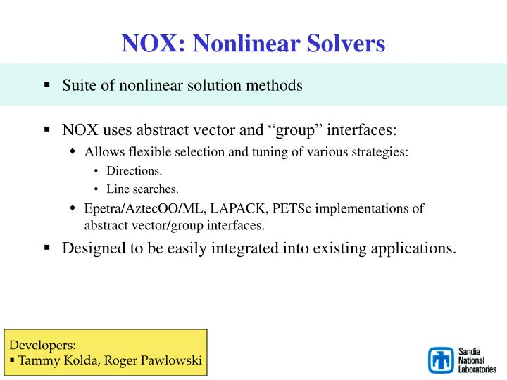 NOX: Nonlinear Solvers