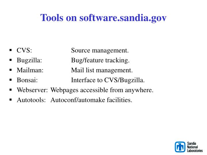 Tools on software.sandia.gov