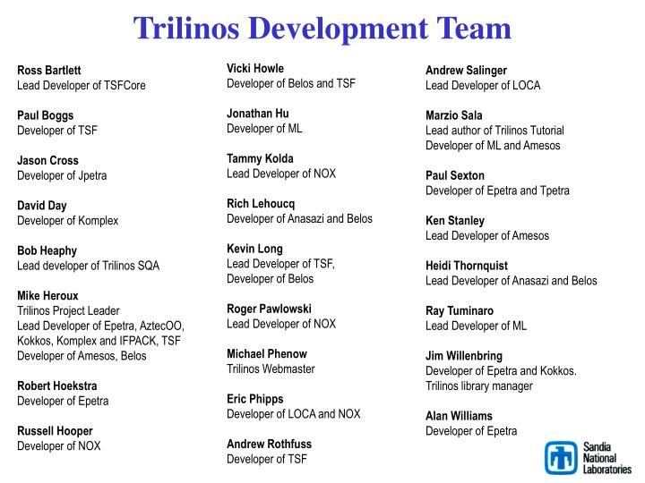 Trilinos development team