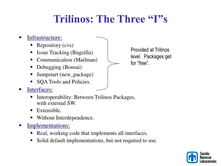 "Trilinos: The Three ""I""s"