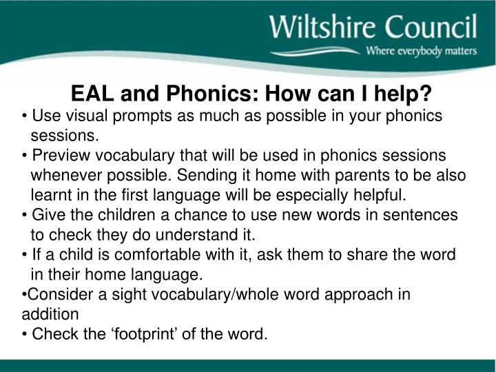EAL and Phonics: How can I help?