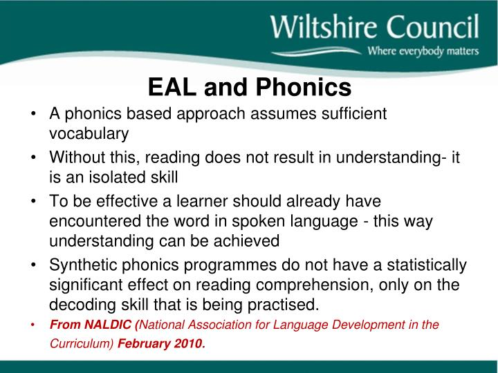 EAL and Phonics