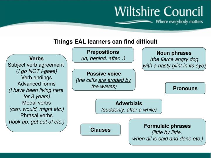 Things EAL learners can find difficult