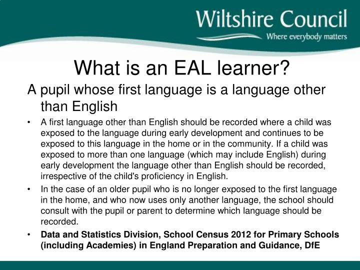 What is an EAL learner?