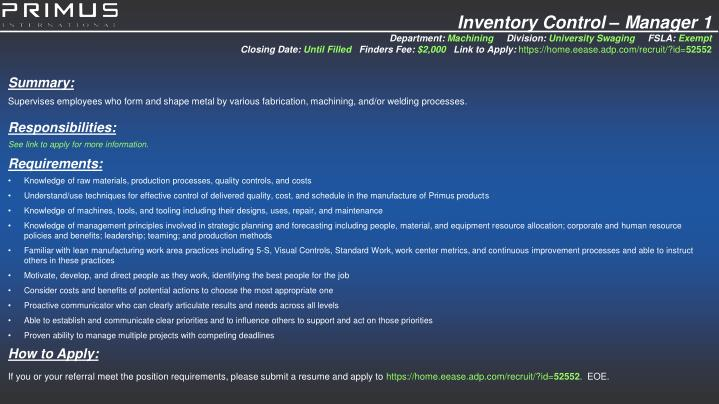 Inventory Control – Manager 1